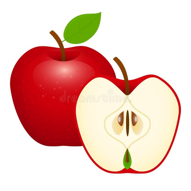 苹果查出的红色 库存例证