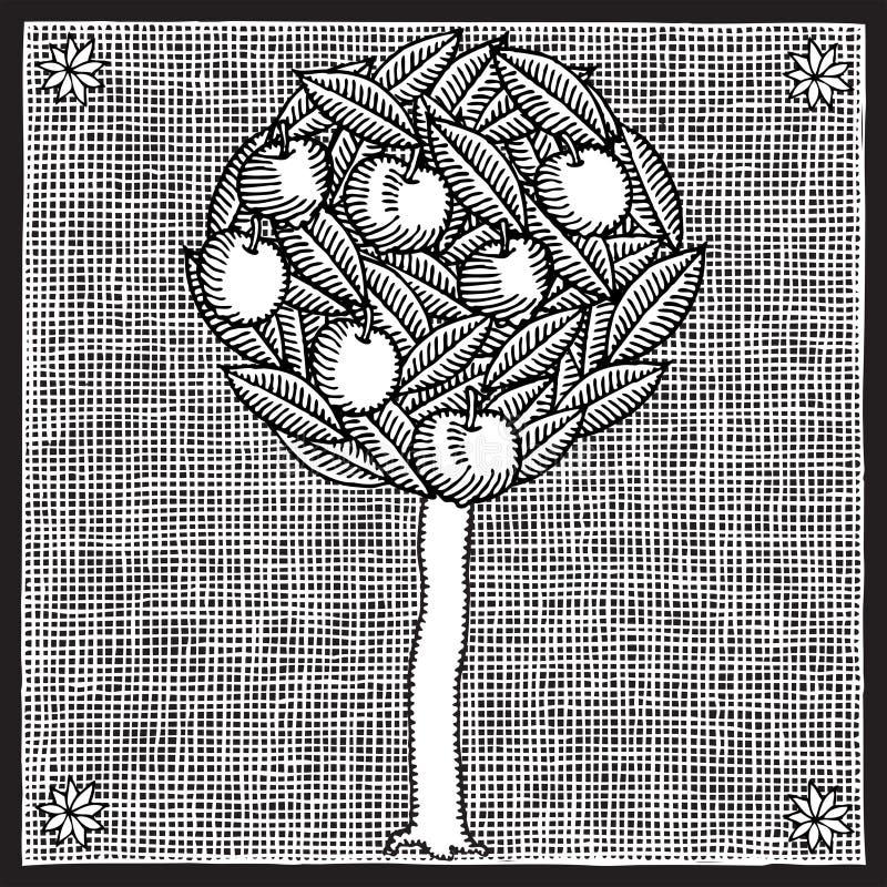 苹果树木刻 向量例证