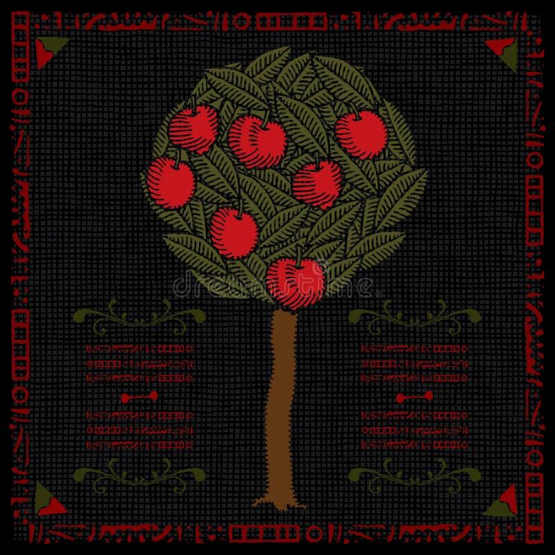 苹果树标签木刻 皇族释放例证
