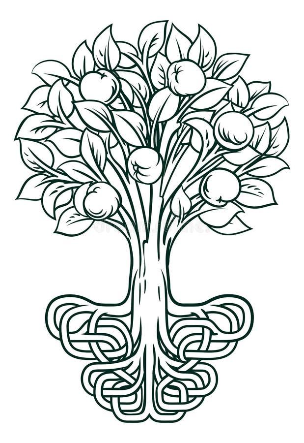 苹果树根源概念 库存例证