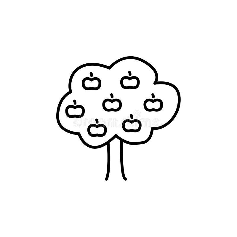 苹果树的黑&白色传染媒介例证 线ga象  向量例证