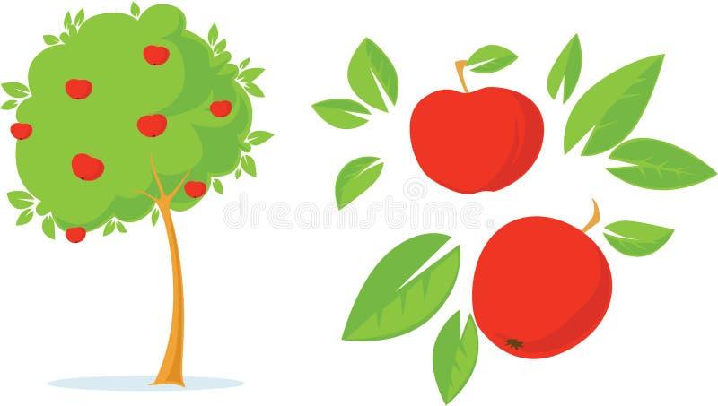 苹果树-平的设计例证 库存照片