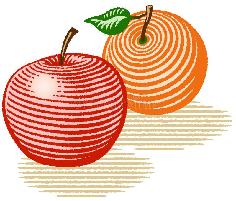 苹果桔子 皇族释放例证