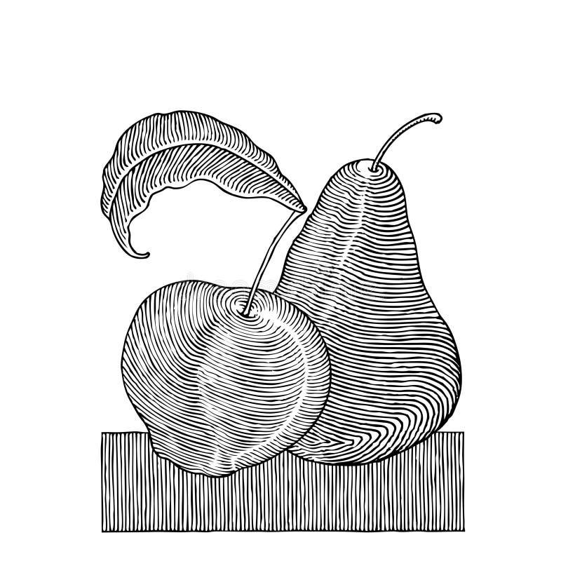 苹果梨木刻 皇族释放例证