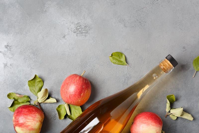 苹果汁醋和新鲜的苹果,平的位置,您的文本的空间 库存照片
