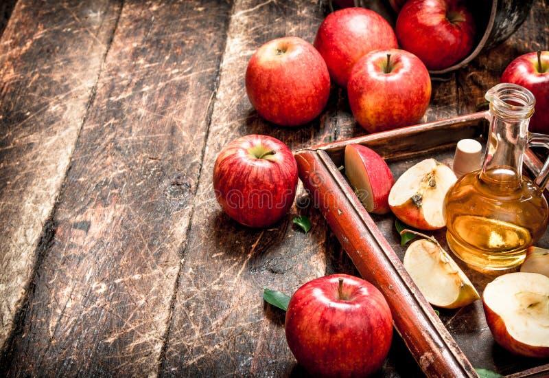 苹果汁醋,在老盘子的红色苹果 免版税图库摄影