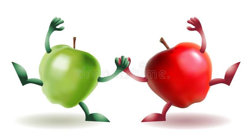 苹果滑稽愉快二 向量例证