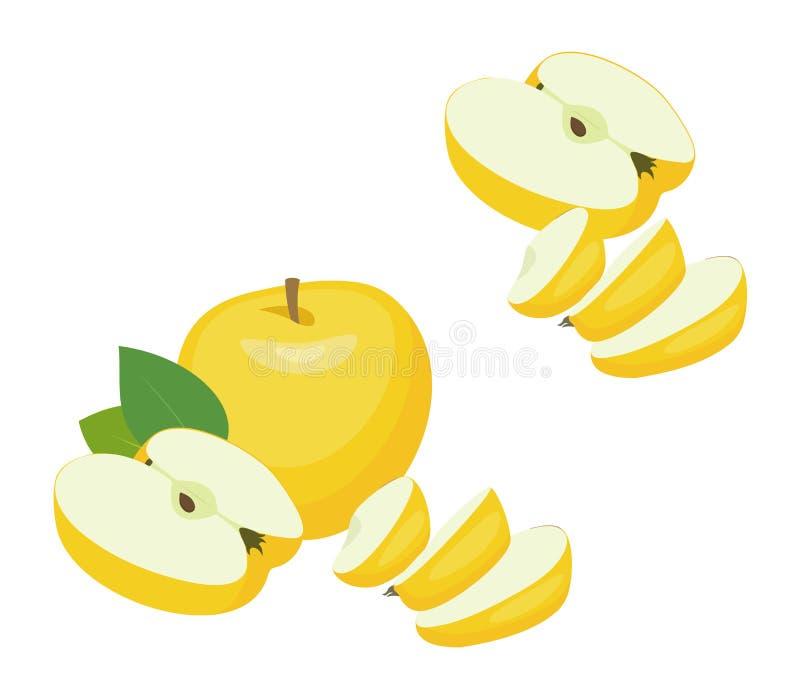 苹果用半苹果和切片 背景例证鲨鱼向量白色 皇族释放例证