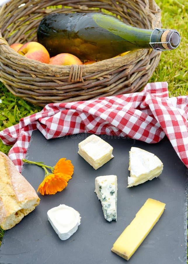 苹果用萍果汁和法国乳酪在草 免版税库存图片