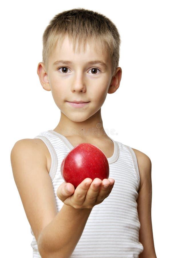 苹果男孩逗人喜爱的红色 免版税库存照片