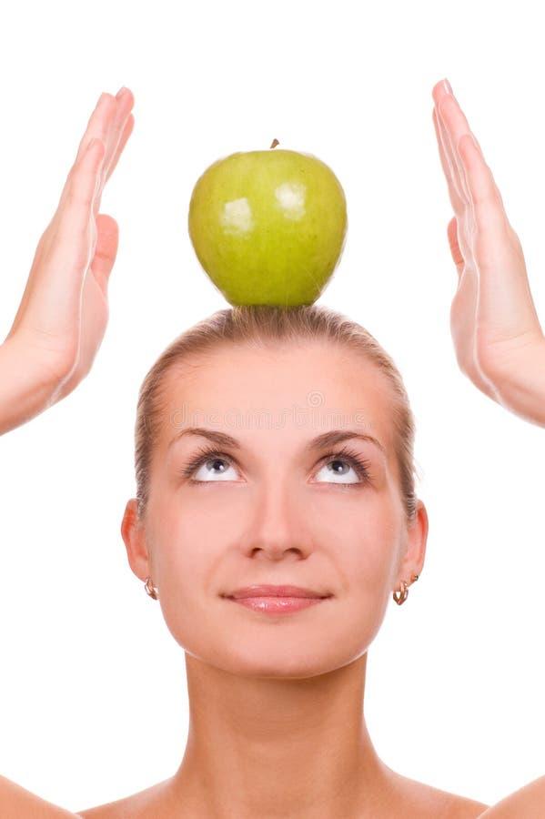 苹果白肤金发的女孩 免版税库存图片