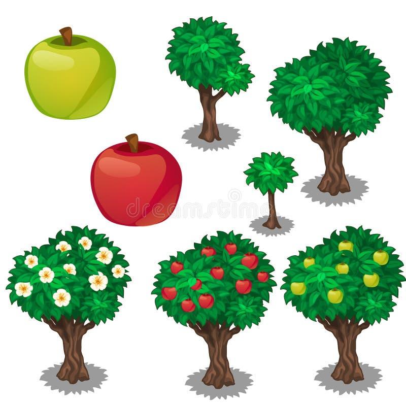 苹果的种植和耕种 向量例证