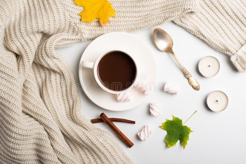 苹果秋天对光检查袋装花瓶的构成干燥叶子 巧克力热饮、温暖的羊毛毛线衣和秋叶、蛋白软糖和蜡烛在白色背景 平的位置, 库存图片