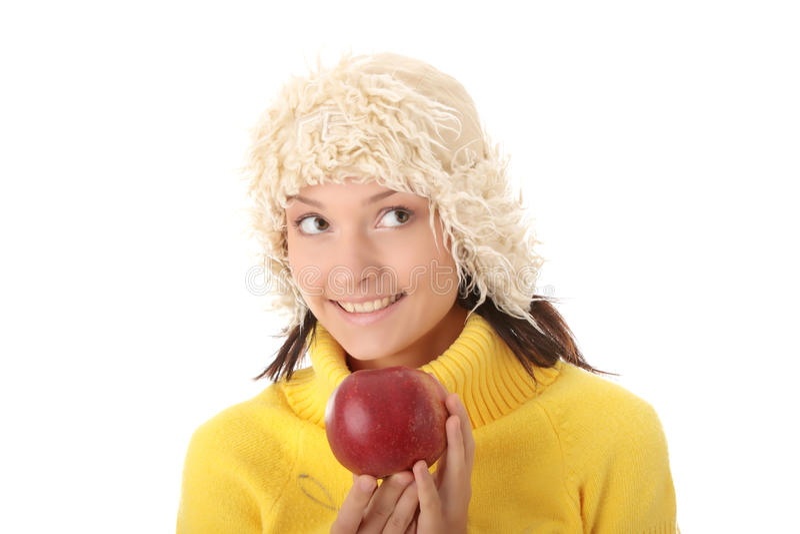 苹果秋天红色青少年的妇女 免版税库存图片
