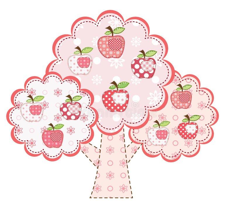苹果粉红色风格化结构树 向量例证