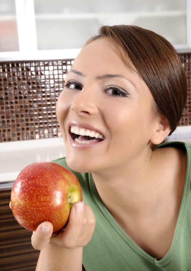 苹果红色妇女 库存照片