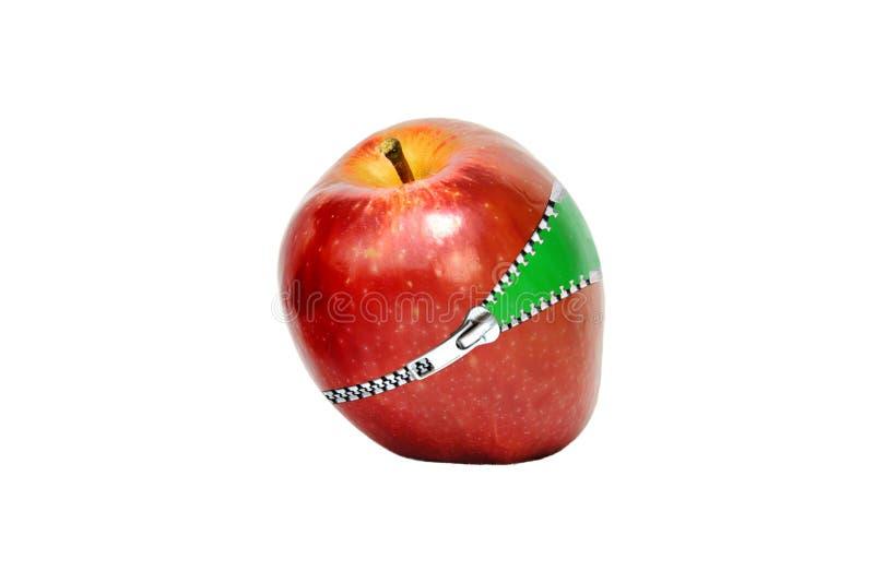 苹果红色拉链 免版税库存图片