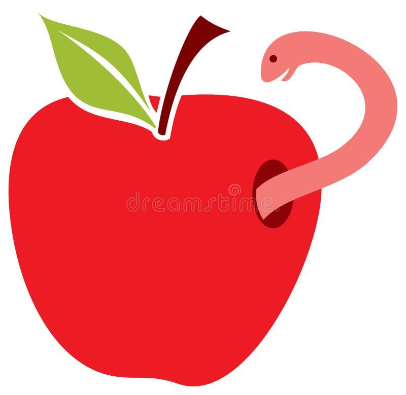 苹果红色蠕虫 库存例证