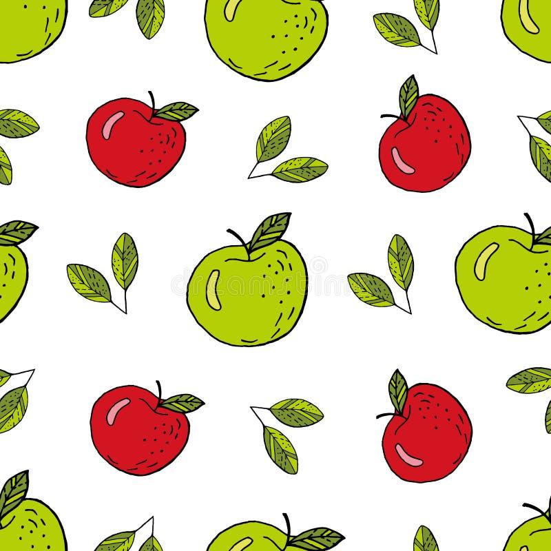 苹果绿和红色 库存例证