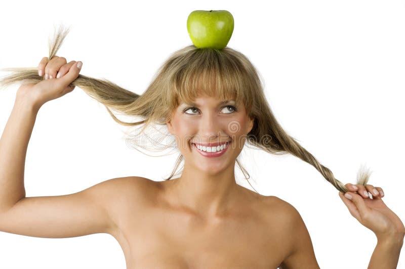 苹果绿头发拉 库存照片