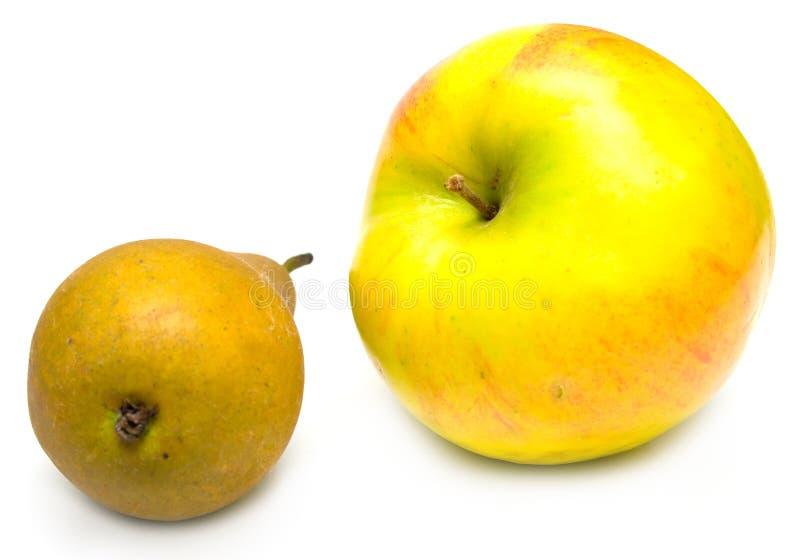 苹果绿的梨黄色 免版税库存照片