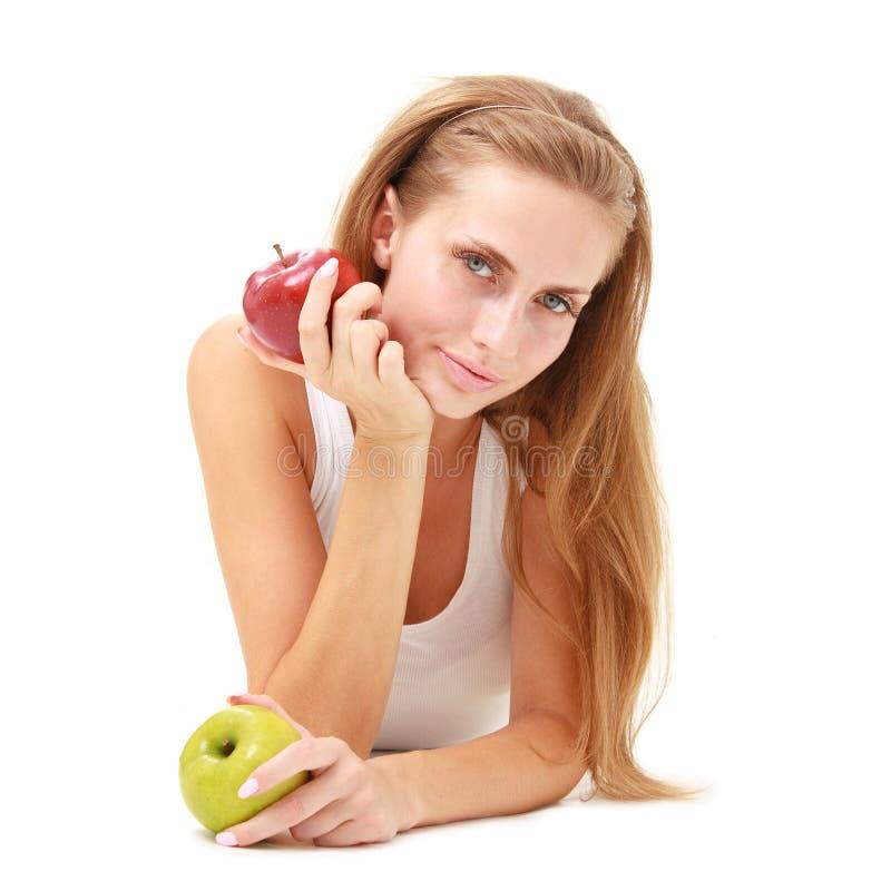 苹果美丽的妇女年轻人 免版税库存图片