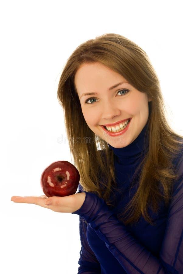 苹果美丽的妇女 免版税库存照片