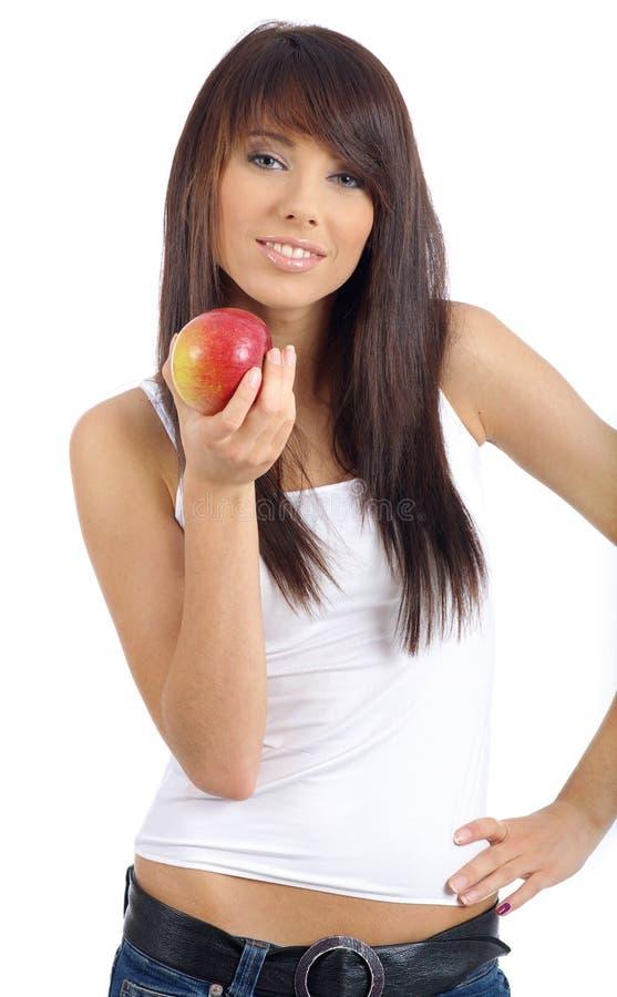 苹果美好的女孩藏品 免版税库存照片