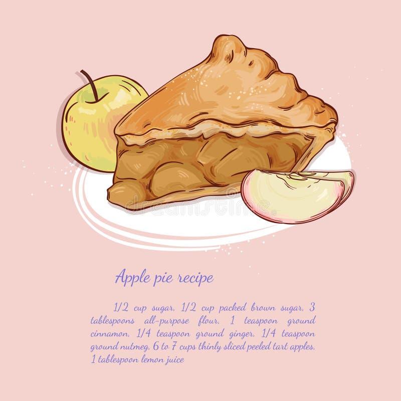 苹果背景烘烤特写镜头藏品查出显示白人妇女的饼红色 向量例证