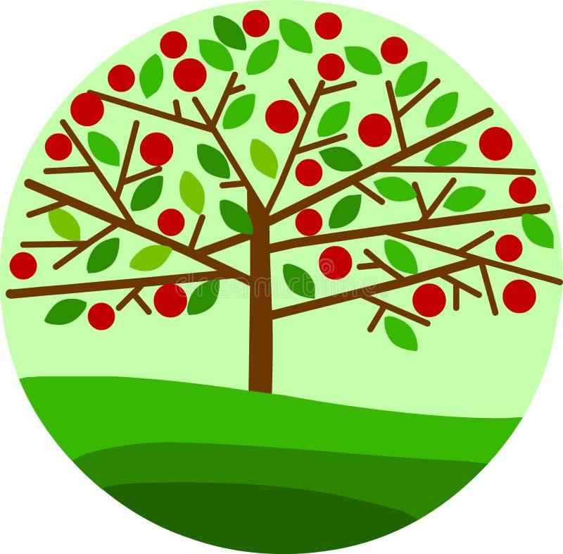 苹果背景绿色红色结构树 向量例证