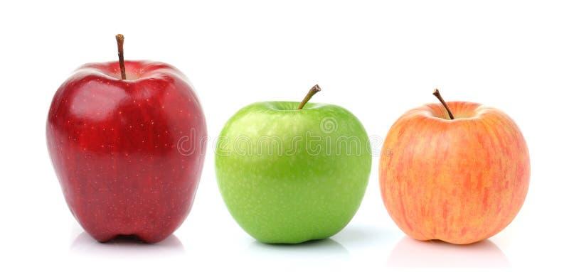 苹果背景绿色红色白色 免版税库存照片