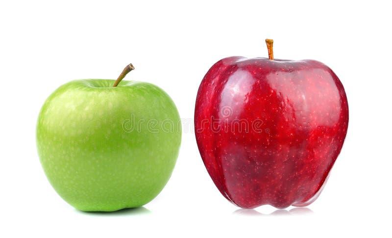 苹果背景绿色红色白色 库存图片