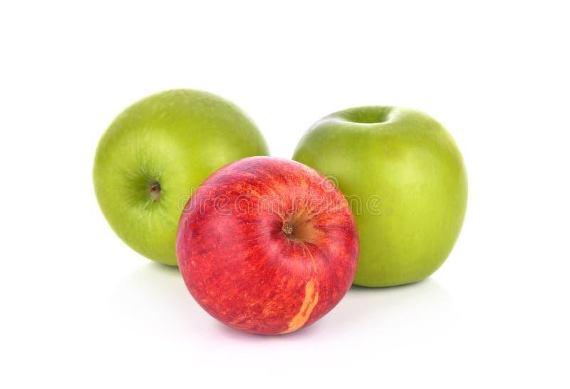 苹果背景绿色红色白色 库存照片