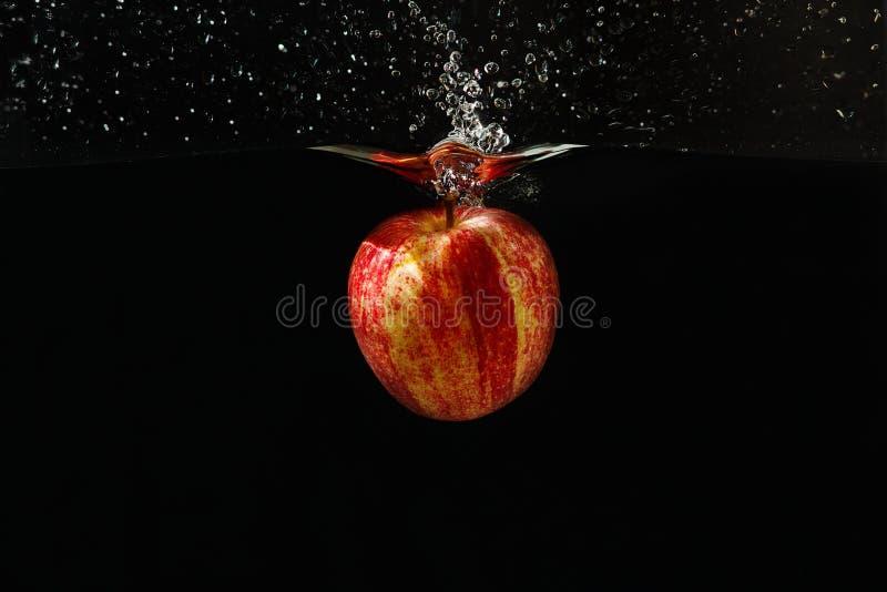 苹果落的飞溅水 库存图片