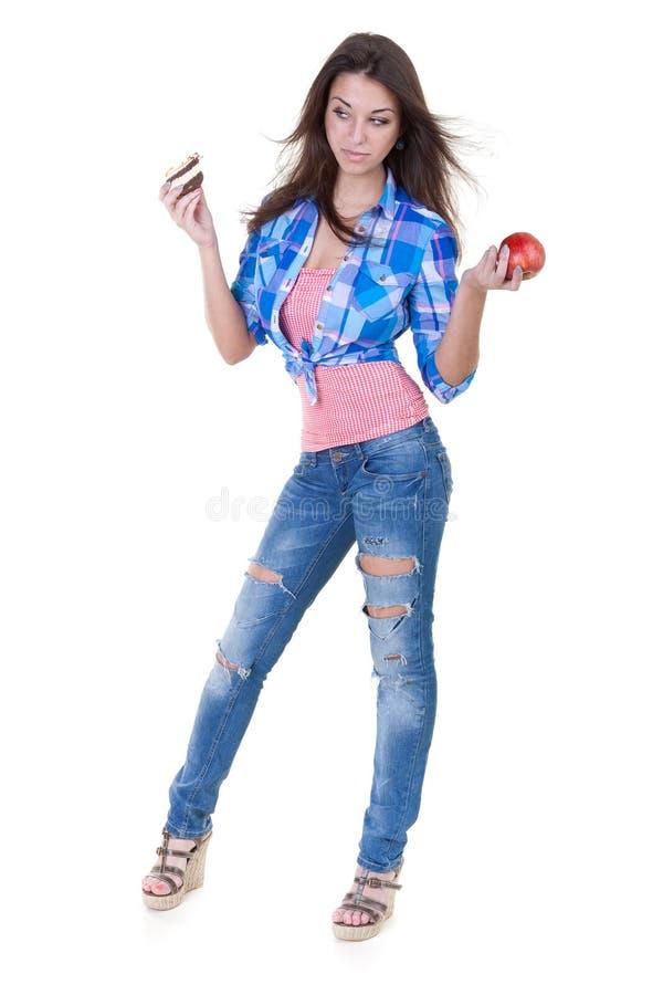 苹果蛋糕女孩红色 免版税库存图片