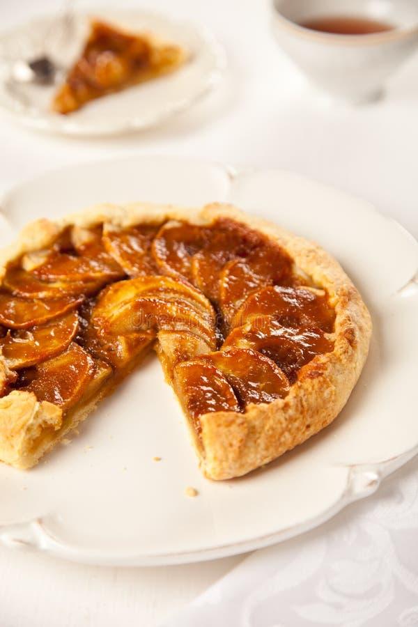 苹果蛋糕焦糖 免版税库存图片