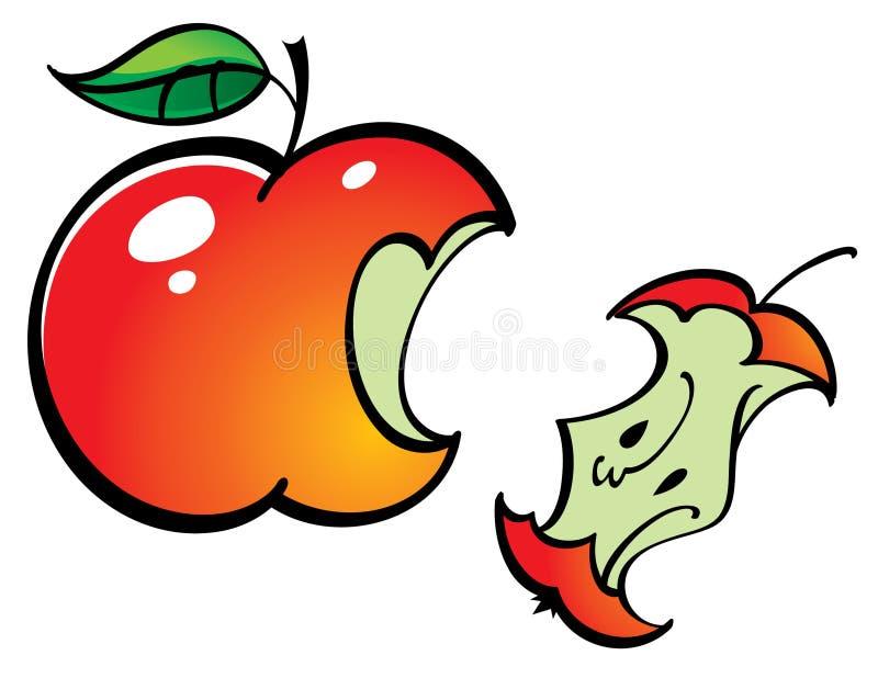 苹果被咬住的残余物 库存例证