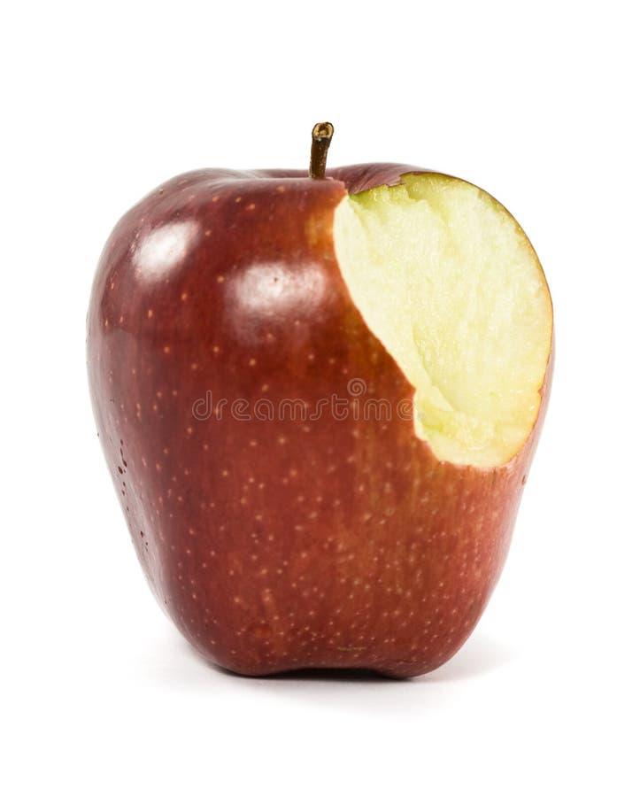 苹果被咬住红色 库存图片