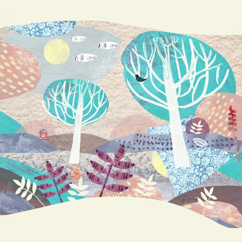 苹果覆盖花横向草甸本质星期日结构树 抽象自然场面 皇族释放例证