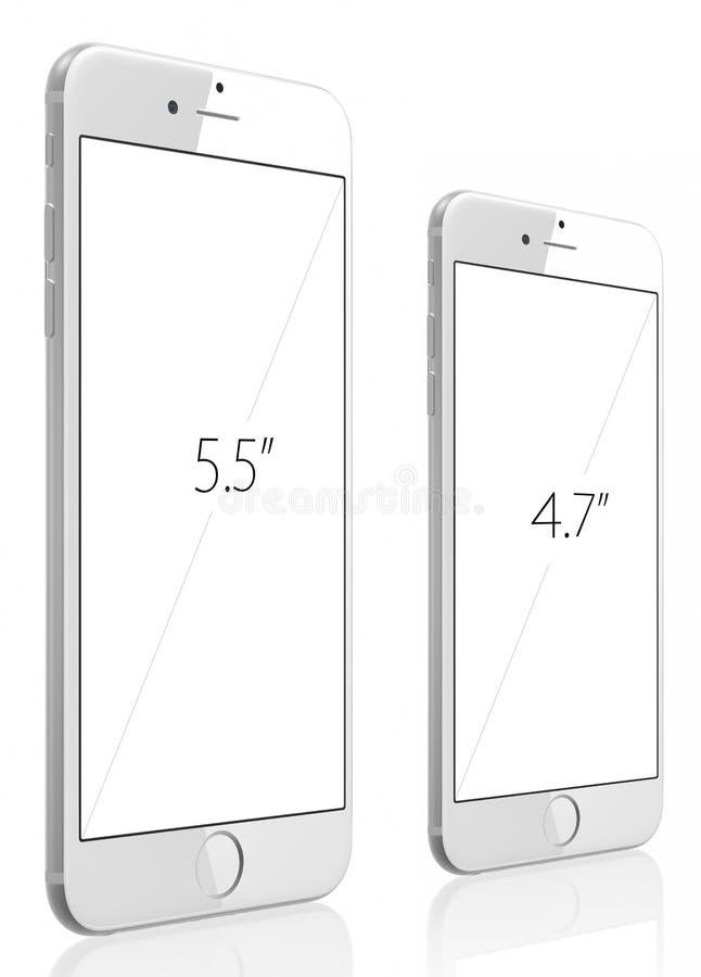 苹果计算机变成银色正iPhone 6和iPhone 6 图库摄影