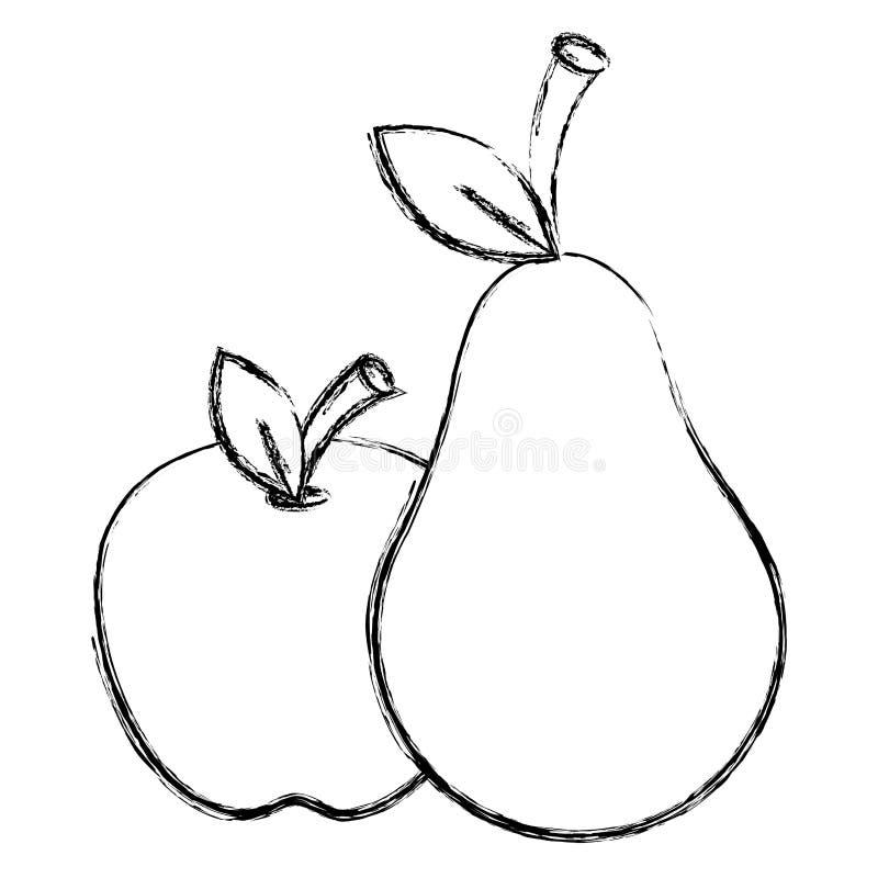 苹果计算机和梨新鲜水果 皇族释放例证