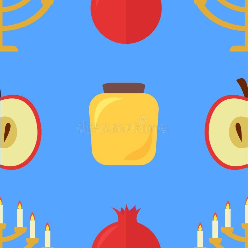 苹果计算机和石榴样式,蜂蜜,犹太教灯台 向量例证