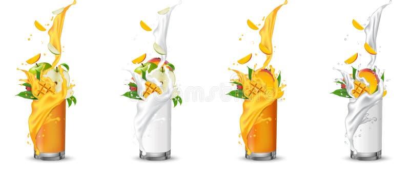 苹果计算机和芒果飞溅入玻璃的果汁与漩涡 库存例证