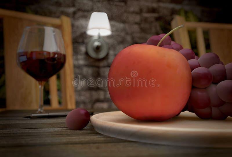 苹果计算机和葡萄在背景酒和灯 3d?? 库存例证