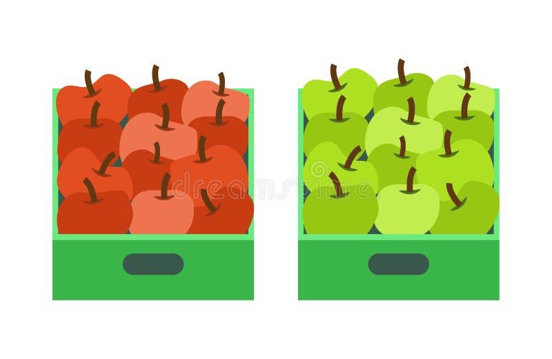 苹果计算机商店,有水果市场的塑胶容器 皇族释放例证