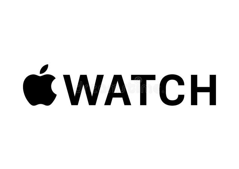 苹果计算机手表商标 皇族释放例证