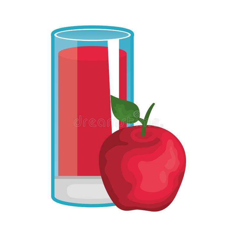 苹果计算机新鲜水果汁 皇族释放例证