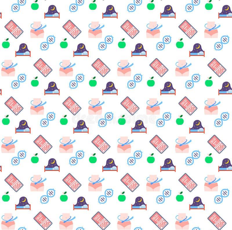 苹果计算机果子健康睡眠床测量的腰部健康书应用程序脱氧核糖核酸象医疗保健医疗商标医学标志 库存例证