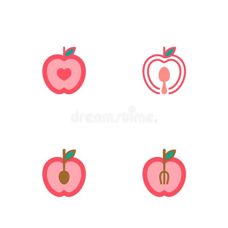 苹果计算机果子象在白色背景隔绝的布景例证 向量例证