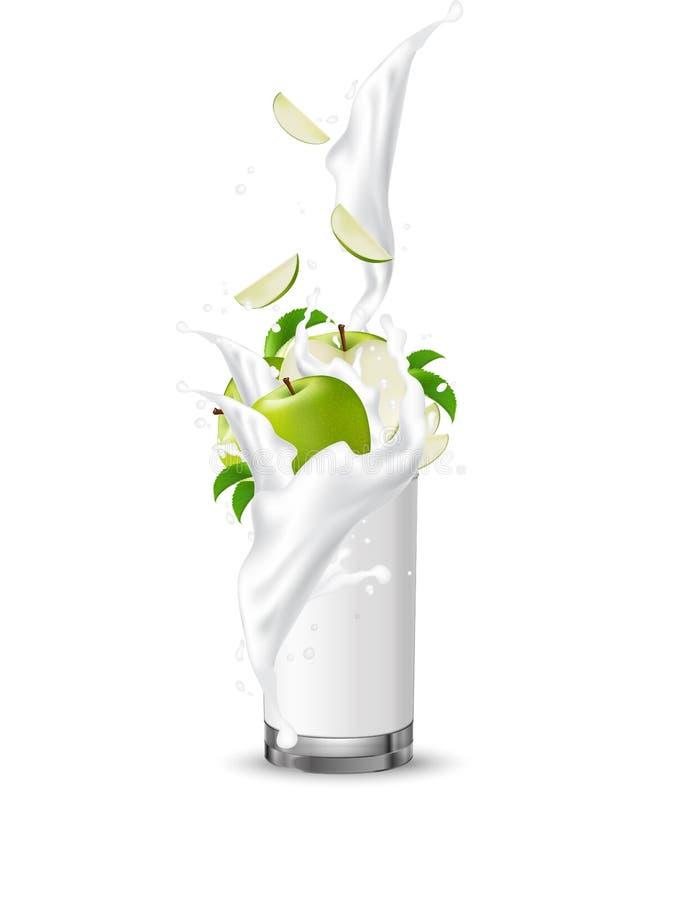 苹果计算机果子飞溅入玻璃的牛奶汁与漩涡 Appl 向量例证